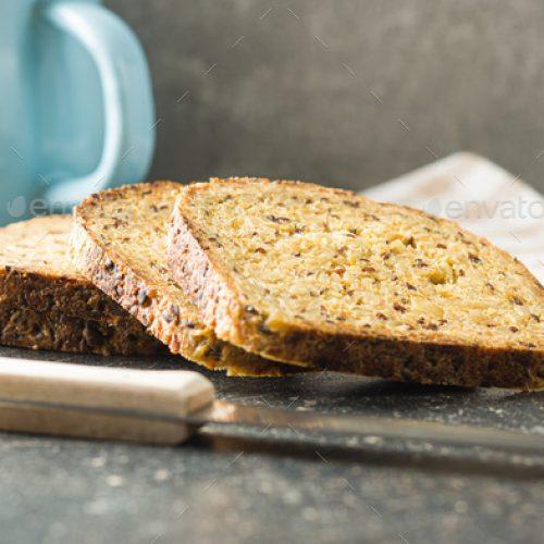 Gluten Free Bread on old kitchen table.