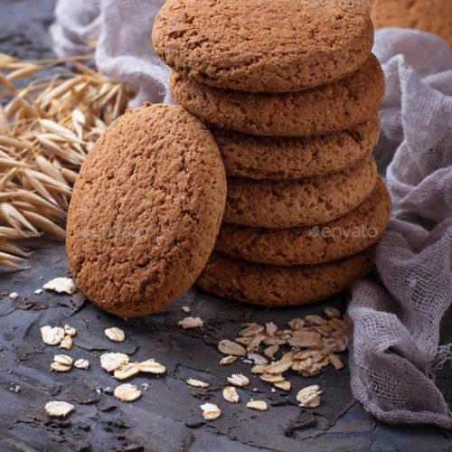 Oatmeal gluten-free cookies. Selective focus
